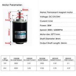 Pastovaus magneto variklis XD-3420 30W 24V 6000rpm