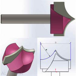 Freza 3D-6 (3D frezavimas) 22mm R8/L50/D12.7